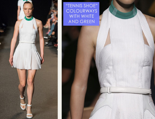 Sneaker References at Alexander Wang | The Cutting Class. Alexander Wang, SS15, New York, Image 16. Tennis shoe colourways in white and green.