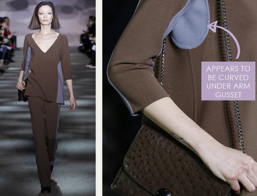 Muted Tones and Soft Curves at Marc Jacobs | The Cutting Class. Marc Jacobs, AW14, New York, Image 4. Curved underarm gusset.