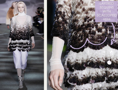 Muted Tones and Soft Curves at Marc Jacobs | The Cutting Class. Marc Jacobs, AW14, New York, Image 5. Scalloped hem on layers of sequins.