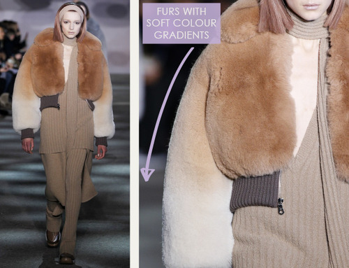 Muted Tones and Soft Curves at Marc Jacobs | The Cutting Class. Marc Jacobs, AW14, New York, Image 6. Furs with soft colour gradients.