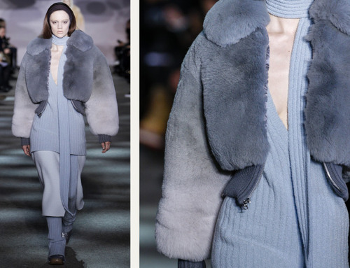 Muted Tones and Soft Curves at Marc Jacobs | The Cutting Class. Marc Jacobs, AW14, New York, Image 7. Furs with soft blue colour gradients.