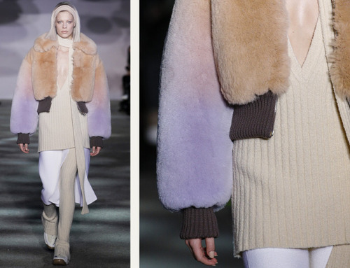 Muted Tones and Soft Curves at Marc Jacobs | The Cutting Class. Marc Jacobs, AW14, New York, Image 8. Furs with soft pastel colour gradients.