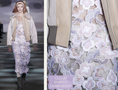 Muted Tones and Soft Curves at Marc Jacobs | The Cutting Class. Marc Jacobs, AW14, New York, Image 9. Cloud shaped embroidery.