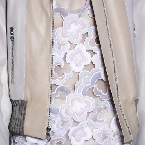 Muted Tones and Soft Curves at Marc Jacobs | The Cutting Class. Marc Jacobs, AW14, New York, Image 9b. Cloud shaped embroidery.
