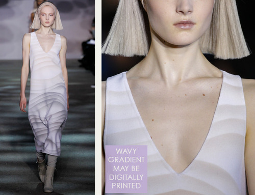 Muted Tones and Soft Curves at Marc Jacobs | The Cutting Class. Marc Jacobs, AW14, New York, Image 11. Wavy gradients, possibly digtially printed onto fabric.