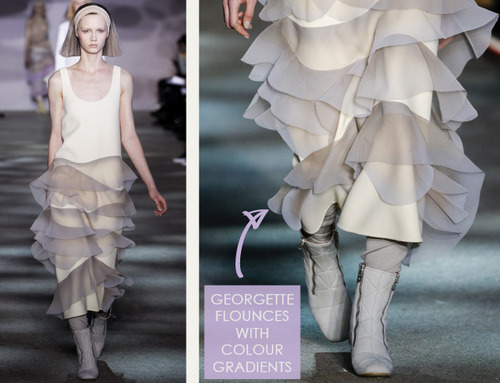 Muted Tones and Soft Curves at Marc Jacobs | The Cutting Class. Marc Jacobs, AW14, New York, Image 13. Georgette flounces with colour gradients.