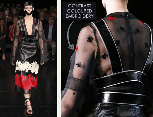 Exquisite Details at Alexander McQueen | The Cutting Class. Alexander McQueen, SS15, Paris, Image 10. Contrast coloured embroidery.