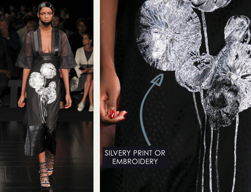 Exquisite Details at Alexander McQueen | The Cutting Class. Alexander McQueen, SS15, Paris, Image 13. Silvery print or embroidery.