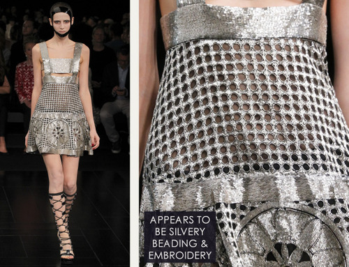 Exquisite Details at Alexander McQueen | The Cutting Class. Alexander McQueen, SS15, Paris, Image 14. Appears to be silvery beading and embroidery.