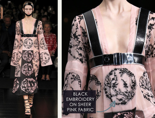 Exquisite Details at Alexander McQueen | The Cutting Class. Alexander McQueen, SS15, Paris, Image 15. Black embroidery on sheer pink fabric.