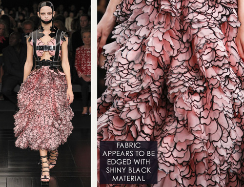 Exquisite Details at Alexander McQueen | The Cutting Class. Alexander McQueen, SS15, Paris, Image 16. Fabric appears to be edged with shiny black material.