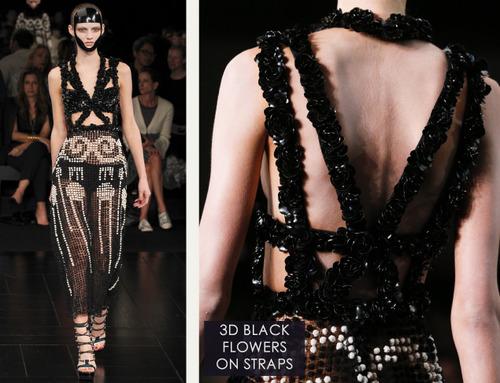 Exquisite Details at Alexander McQueen | The Cutting Class. Alexander McQueen, SS15, Paris, Image 18. 3D black flowers on straps.