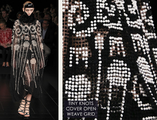 Exquisite Details at Alexander McQueen | The Cutting Class. Alexander McQueen, SS15, Paris, Image 19. Tiny knots cover open weave fabric grid.