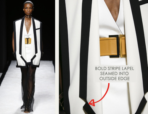 Bold Stripes at Balmain | The Cutting Class. Balmain, SS15, Paris, Image 1. Bold stripe lapel seamed into outside edge.