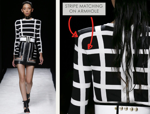Bold Stripes at Balmain | The Cutting Class. Balmain, SS15, Paris, Image 2. Stripe matching on armhole.