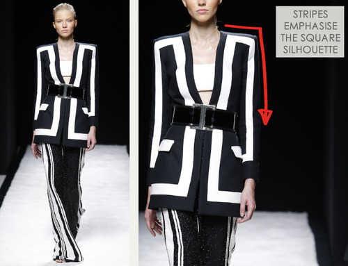 Bold Stripes at Balmain | The Cutting Class. Balmain, SS15, Paris, Image 3. Stripes emphasise the square silhouette.
