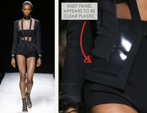 Bold Stripes at Balmain | The Cutting Class. Balmain, SS15, Paris, Image 4. Inset panel appears to be clear plastic.
