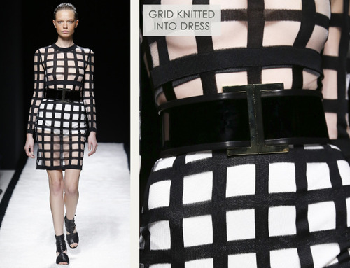 Bold Stripes at Balmain | The Cutting Class. Balmain, SS15, Paris, Image 5. Grid knitted into dress.
