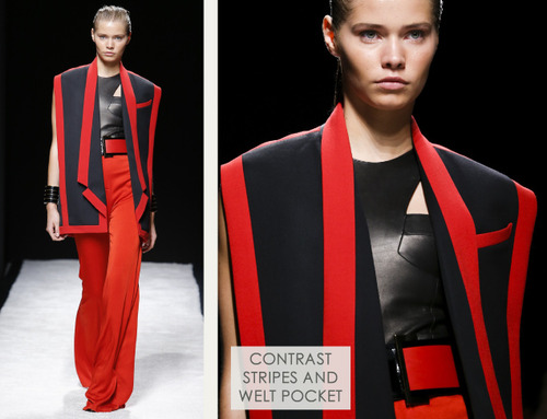 Bold Stripes at Balmain | The Cutting Class. Balmain, SS15, Paris, Image 6. Contrast stripes and welt pocket.