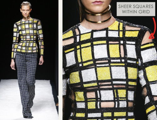 Bold Stripes at Balmain | The Cutting Class. Balmain, SS15, Paris, Image 7. Sheer squares within grid.