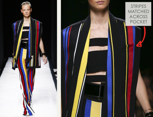 Bold Stripes at Balmain | The Cutting Class. Balmain, SS15, Paris, Image 8. Stripes matched across pocket.