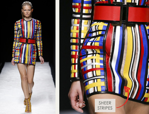 Bold Stripes at Balmain | The Cutting Class. Balmain, SS15, Paris, Image 9. Sheer stripes mixed with leather stripes.