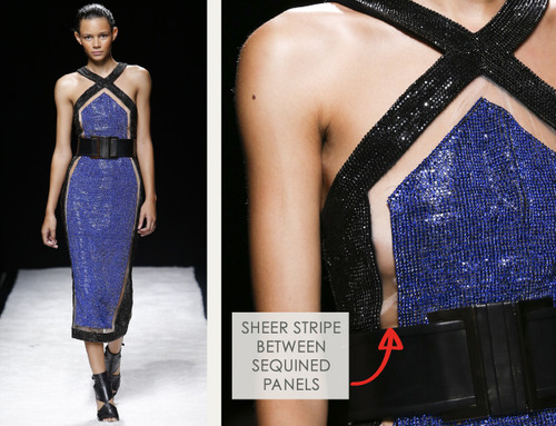 Bold Stripes at Balmain | The Cutting Class. Balmain, SS15, Paris, Image 10. Sheer stripe between sequined panels.