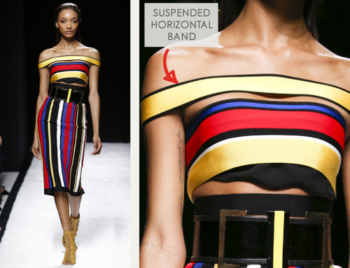 Bold Stripes at Balmain | The Cutting Class. Balmain, SS15, Paris, Image 12. Suspended horizontal band creates off the shoulder silhouette.