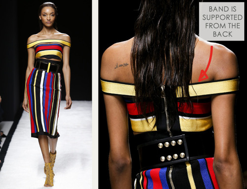 Bold Stripes at Balmain | The Cutting Class. Balmain, SS15, Paris, Image 13. Horizontal band is supported through the centre back.