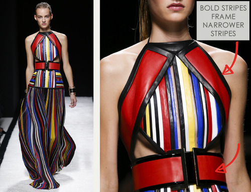Bold Stripes at Balmain | The Cutting Class. Balmain, SS15, Paris, Image 14. Bold stripes frame narrower stripes.