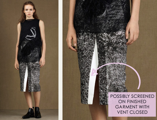 Fractured Prints at McQ | The Cutting Class. McQ, PF15, Image 2. Possibly screened on finished garment with vent closed.