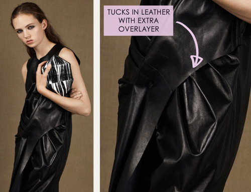 Fractured Prints at McQ | The Cutting Class. McQ, PF15, Image 3. Tucks in leather with extra overlayer.