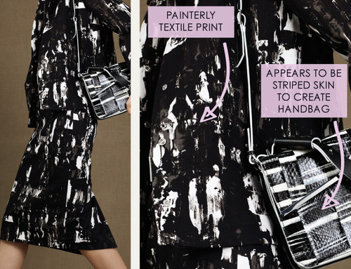 Fractured Prints at McQ | The Cutting Class. McQ, PF15, Image 5. Painterly textile print.