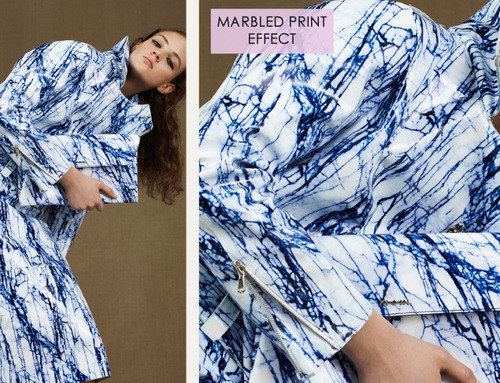Fractured Prints at McQ | The Cutting Class. McQ, PF15, Image 7. Marbled print effect.