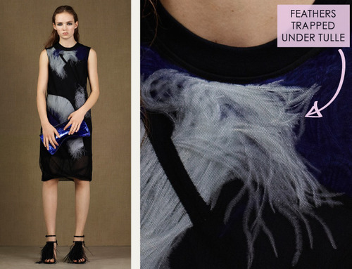 Fractured Prints at McQ | The Cutting Class. McQ, PF15, Image 8. Feathers trapped under tulle.