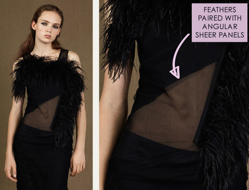 Fractured Prints at McQ | The Cutting Class. McQ, PF15, Image 11. Feathers paired with angular sheer panels.