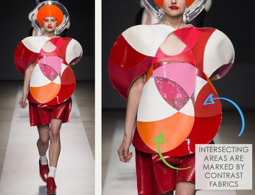 Pushing Circles at Junya Watanabe | The Cutting Class. Junya Watanabe, SS15, Paris, Image 2. Intersecting areas are marked by contrast fabrics.