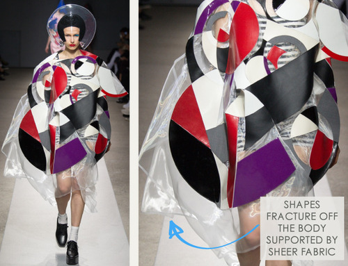 Pushing Circles at Junya Watanabe | The Cutting Class. Junya Watanabe, SS15, Paris, Image 6. Shapes fracture off the body, supported by sheer fabric.