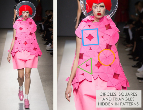 Pushing Circles at Junya Watanabe | The Cutting Class. Junya Watanabe, SS15, Paris, Image 8. Circles, squares and triangles are hidden in patterns.