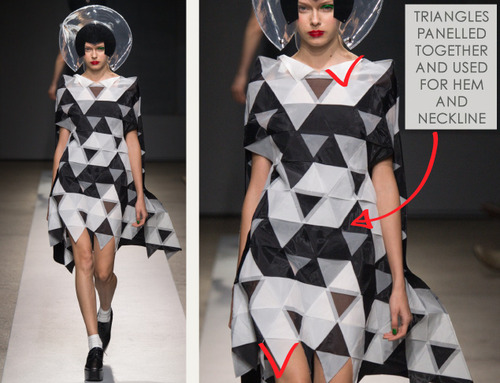 Pushing Circles at Junya Watanabe | The Cutting Class. Junya Watanabe, SS15, Paris, Image 13. Triangles are panelled together and used for hem and neckline.