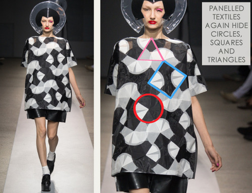 Pushing Circles at Junya Watanabe | The Cutting Class. Junya Watanabe, SS15, Paris, Image 14. Circles, squares and triangles are hidden in patterns.