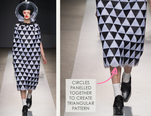Pushing Circles at Junya Watanabe | The Cutting Class. Junya Watanabe, SS15, Paris, Image 15. Circles panelled together to create triangular pattern.