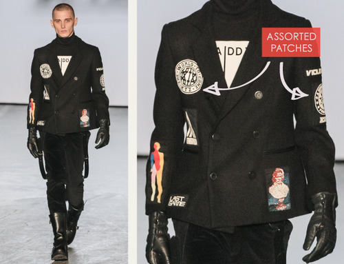Pixelated Faces Play with Scale at KTZ | The Cutting Class. KTZ (Kokon To Zai), Menswear, AW15, London, Image 1. Assorted patches.