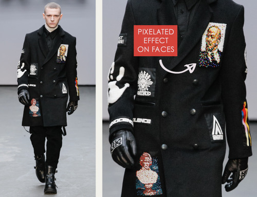 Pixelated Faces Play with Scale at KTZ | The Cutting Class. KTZ (Kokon To Zai), Menswear, AW15, London, Image 2. Pixelated effect on faces.