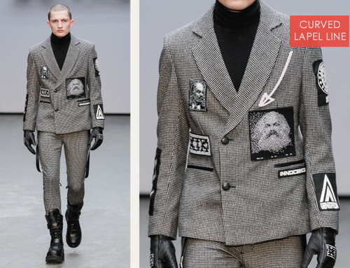 Pixelated Faces Play with Scale at KTZ | The Cutting Class. KTZ (Kokon To Zai), Menswear, AW15, London, Image 3. Curved lapel line.