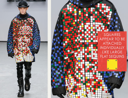 Pixelated Faces Play with Scale at KTZ | The Cutting Class. KTZ (Kokon To Zai), Menswear, AW15, London, Image 8. Squares appear to be attached individually like large flat sequins.