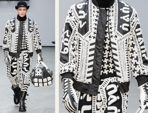 Pixelated Faces Play with Scale at KTZ | The Cutting Class. KTZ (Kokon To Zai), Menswear, AW15, London, Image 11. Monochrome textile effect.
