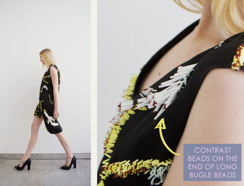 Embellishment and Painterly Prints at NIHL | The Cutting Class. NIHL by Neil Grotzinger, Graduate Collection, SS14, Image 1. Contrast beads on the end of long bugle beads.