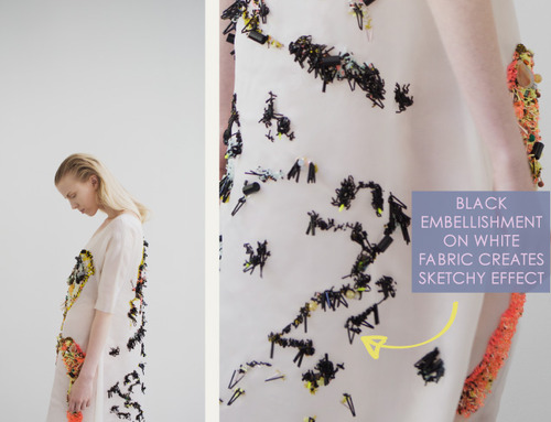 Embellishment and Painterly Prints at NIHL | The Cutting Class. NIHL by Neil Grotzinger, Graduate Collection, SS14, Image 7. Black embellishment on white fabric creates sketchy effect.