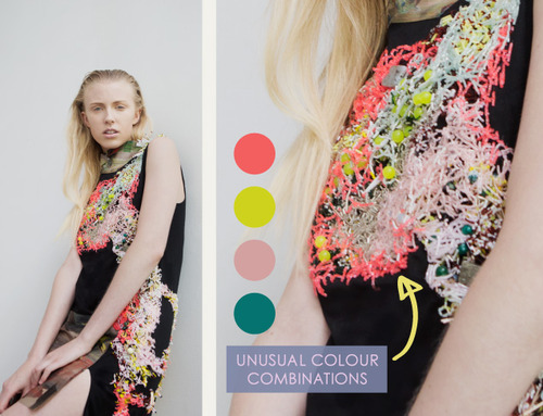 Embellishment and Painterly Prints at NIHL | The Cutting Class. NIHL by Neil Grotzinger, Graduate Collection, SS14, Image 9. Unusual colour combinations used within the beading.
